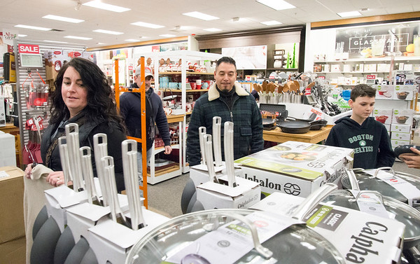 11/29/19 Wesley Bunnell | StaffrrShopping at Kohl's in Plainville during their Black Friday sale are Kristy Trumbley, L, Emmanual Berger and Jacob Trumbley This marks the fifth year where the group, who is not from the area, make their annual Black Friday shopping trip to Kohl's in Plainville followed up with a movie.