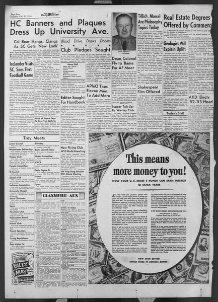 Daily Trojan, Vol. 44, No. 27, October 21, 1952