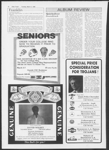 Daily Trojan, Vol. 100, No. 36, March 04, 1986