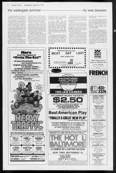 Summer Trojan, Vol. 66, No. 16, August 22, 1973