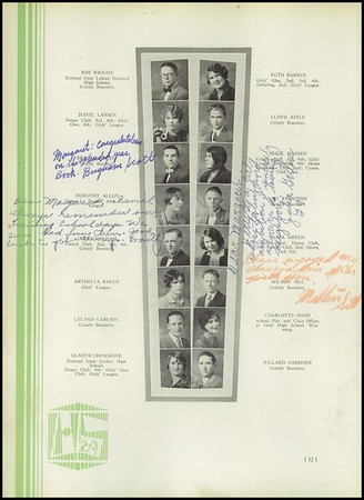 Hayward Baker and Martha Carlisle (and families) yearbook photos