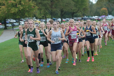 Girls Varsity before race cancelled - 2018 Oakland County Cross Country Championship