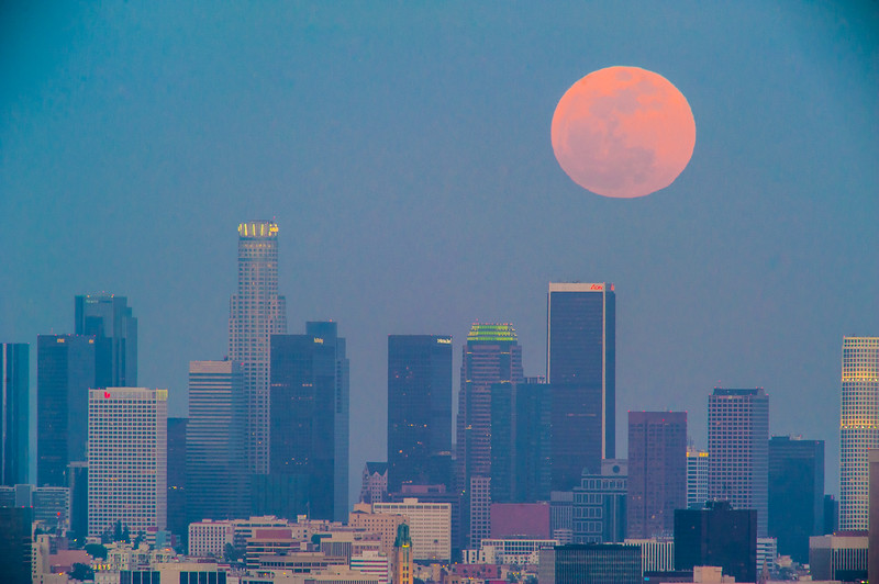 Los Angeles Downtown Supermoon