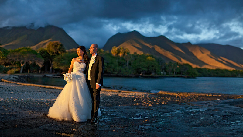 Sunset Wedding Landscape Portrait on Maui with Bride and Groom