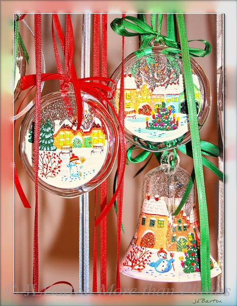 Hand Painted Christmas Tree ornaments with Austrian Naive Art scenes