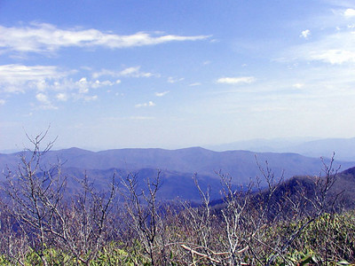 View Southward from standing atop the cairn on Thunderhead Mtn. GSMNP April 23, 2007
