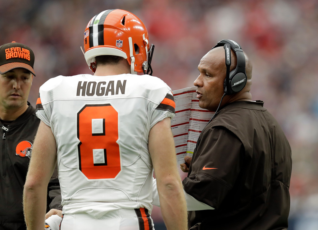 . Cleveland Browns quarterback Kevin Hogan (8) talks with head coach Hue Jackson, right, on the sideline in the first half of an NFL football game against the Houston Texans on Sunday, Oct. 15, 2017, in Houston. (AP Photo/Eric Gay)