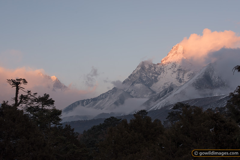 Sunset on Ama Dablam from Tengboche