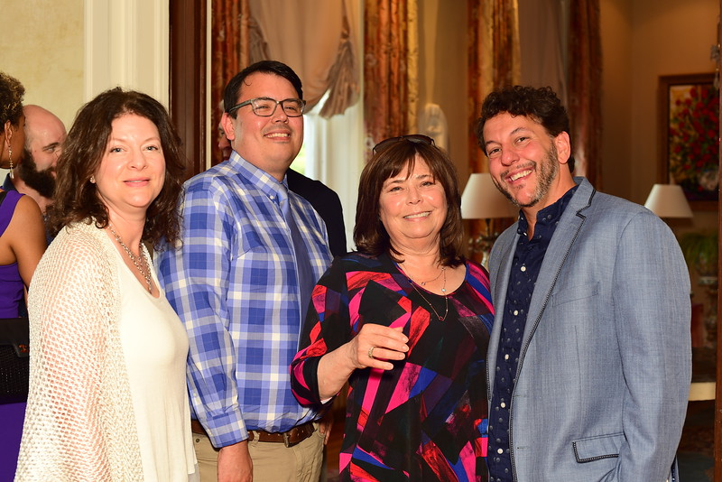 Cindy Schaufeld, John Tang, Bobbi Schaufeld, Tom Sweitzer, Cocktails at Selma Mansion, June 7, 2018, Nancy Milburn Kleck