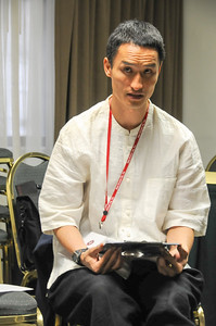 "HyoSung Bidol-Lee giving instructions during his writing workshop, ""Naming Names Now: Writing Workshop for Adoptees & Allies""."