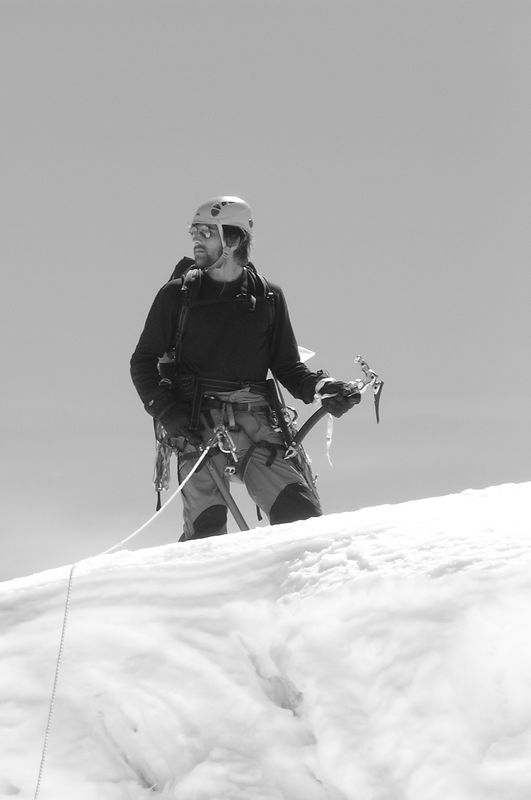 """""""Now to get  back"""". Andrew on the top of the Hochstetter Dome."""