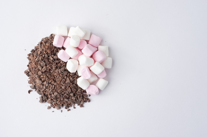 Chocolate Granules and Marshmallows Halfs Top View