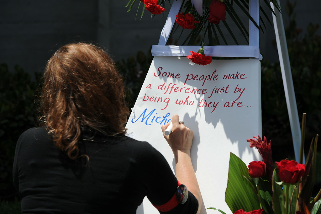 . Michael Jackson impersonators, and fans gathered at the Great Mausoleum at Forest Lawn Memorial Park in Glendale to honor Jackson on the 5th anniversary of his death.  Glendale, CA. 6/25/2014 (Photo by John McCoy Daily News)