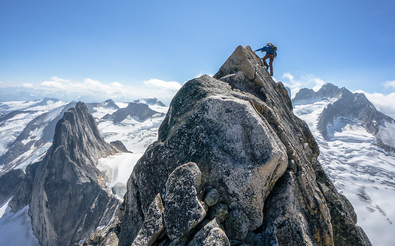 Decending the Kain Route on the Bugaboo Spire with Jackson Marvel in the Bugaboo Provincial Park of British Columbia Canada, Aug 2015
