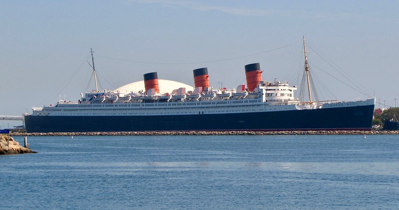 The famous Queen Mary at its permanent home in Long Beach (2010)