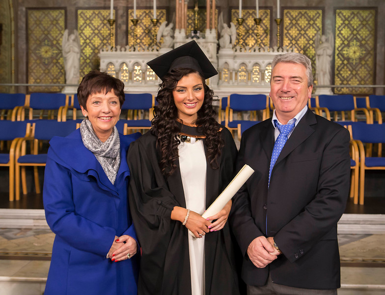 Waterford Institute Of Technology Conferring. Pictured at WIT Waterford Institute Of Technology Conferring is Leonie Kierans,  Cork  who graduated Bachelor of Arts (Honours) in Tourism Marketing, also pictured are Tony and Marie Kierans. Picture: Patrick Browne