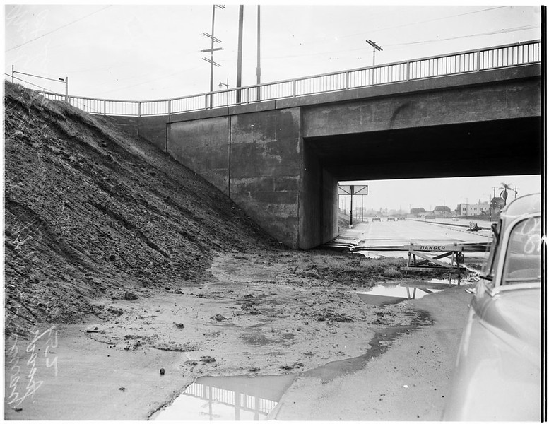 Mud Slide Under Hollywood Freeway Bridge