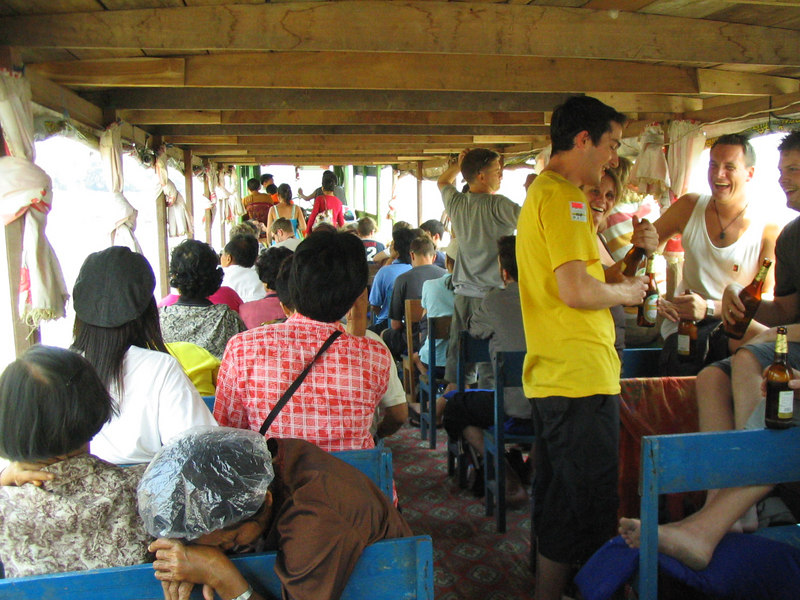 The slow boat to Luang Prabang.  Locals and foreigners cram into a wooden-benched disaster waiting to happen.