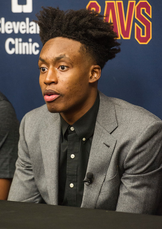 . Cleveland Cavaliers NBA basketball team first round draft selection, Collin Sexton, answers a question during a news conference at the Cavaliers training facility in Independence, Ohio, Friday, June 22, 2018. Sexton was the eighth selection of the draft. (AP Photo/Phil Long)