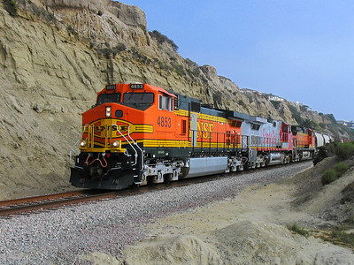 BNSF freight train at San Clemente Beach, California