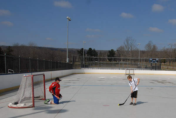 2012-03-17 Eli and Jordan Play Hockey at Morris County Central Park