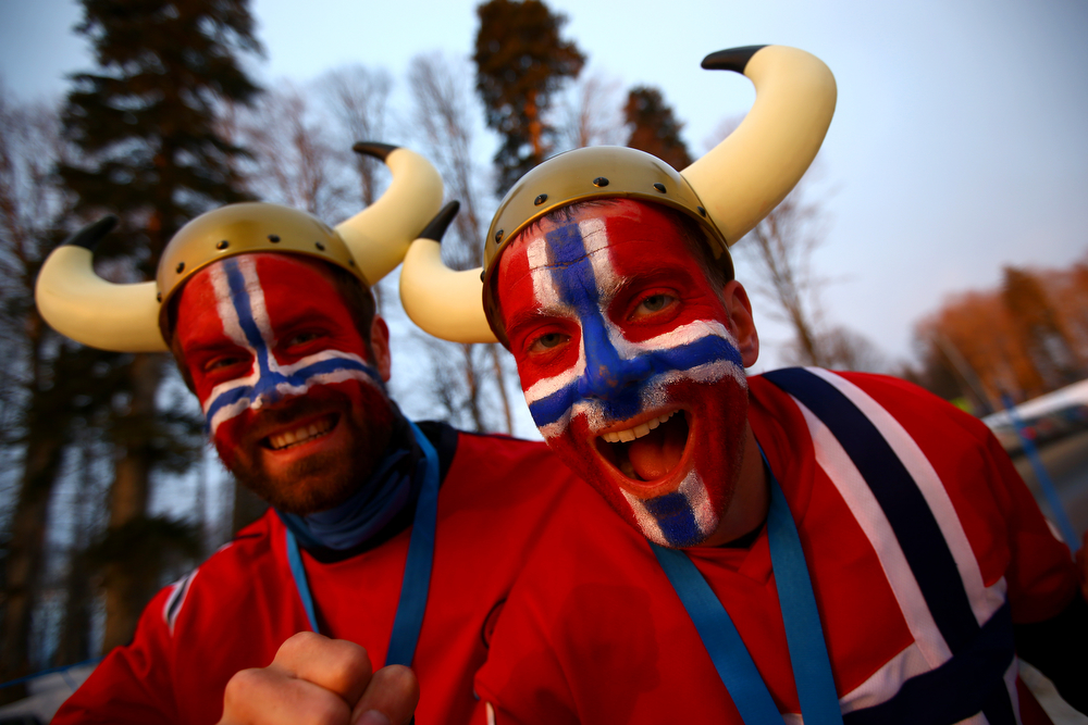 . Norwegian fans attend the Women\'s 10 km Pursuit during day four of the Sochi 2014 Winter Olympics at Laura Cross-country Ski & Biathlon Center on February 11, 2014 in Sochi, Russia.  (Photo by Doug Pensinger/Getty Images)
