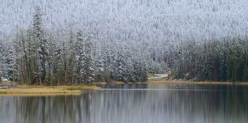 A late September snow frosts the hillsides above Sylvan Lake [September 24; Yellowstone National Park, Wyoming]