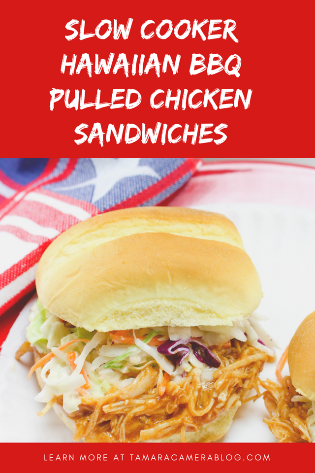 These Slow Cooker Hawaiian BBQ Chicken Sandwiches are easy to make and will be the talk of your spring, summer, birthday, Memorial Day, Fourth of July, or graduation party. The sky is the limit! #recipes #slowcooker #pulledchicken #partytime