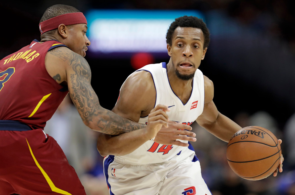 . Detroit Pistons\' Ish Smith (14) drives past Cleveland Cavaliers\' Isaiah Thomas (3) in the second half of an NBA basketball game, Sunday, Jan. 28, 2018, in Cleveland. The Cavaliers won 121-104. (AP Photo/Tony Dejak)