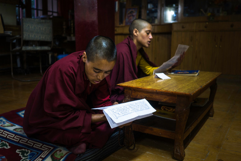Usually, it is the monk who relishes the supremacy and respect from the people and is invited to all the important rituals and ceremonies but now people are inviting some of the young nuns to recite the texts from the holy books, which helps young girls in their pocket money.