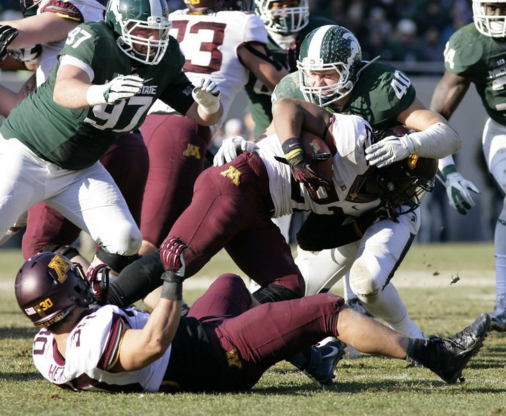 """. <p>3. (tie) MINNESOTA GOPHERS <p>Third-rate Texas Bowl seems just right for an offense with zero touchdowns in its last 10 quarters. (unranked) <p><b><a href=\'http://www.twincities.com/sports/ci_24630292/michigan-state-14-gophers-3-offense-drops-ball\' target=\""""_blank\""""> HUH?</a></b> <p>    (AP Photo/Al Goldis)"""