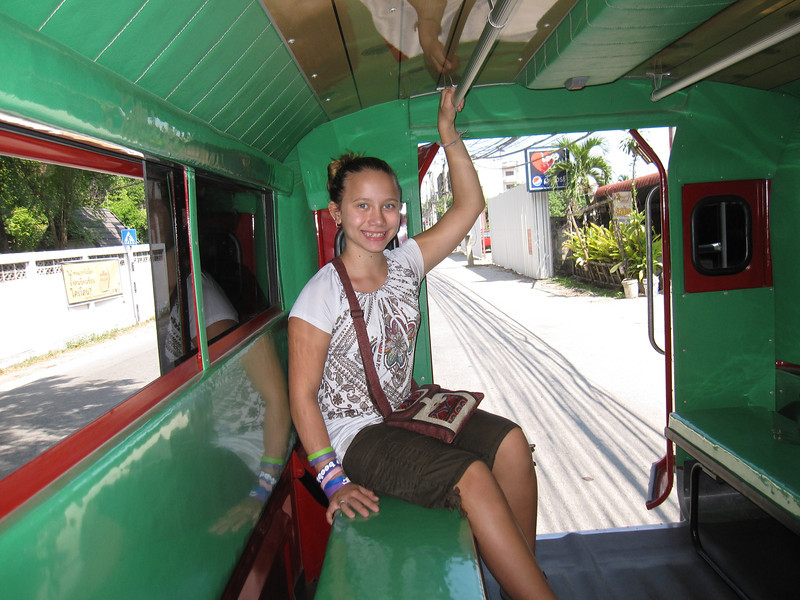 Ana is loving her first ride in a songthaew around Chiang Mai