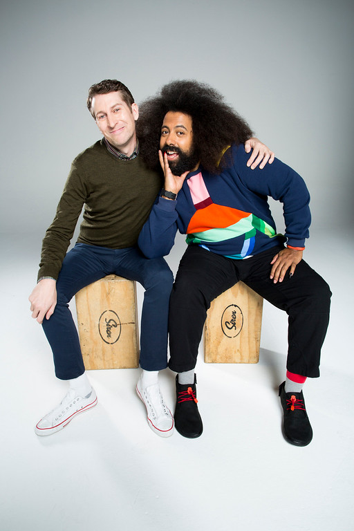 . Scott Aukerman and Reggie Watts for Comedy Bang! Bang!  (Photo by Kyle Christy/IFC)