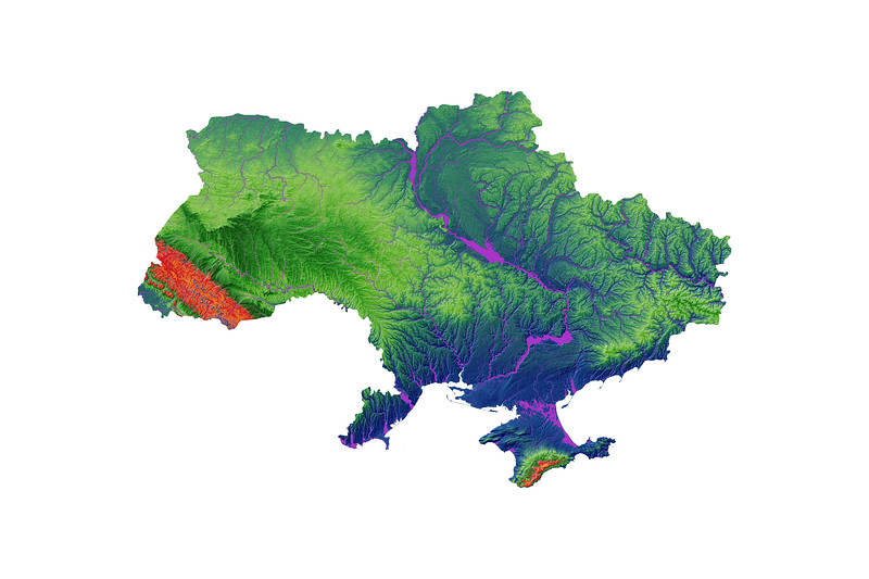 Elevation map of Ukraine