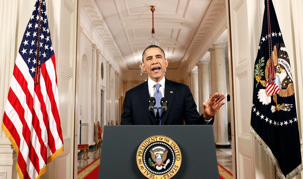 . President Barack Obama speaks in the East Room of the White House in Washington, Thursday, June 28, 2012, after the Supreme Court ruled on his health care legislation. (AP Photo/Luke Sharrett/Pool)