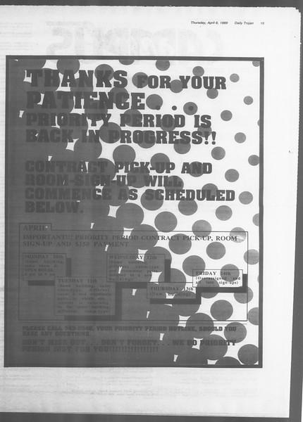 Daily Trojan, Vol. 108, No. 52, April 06, 1989
