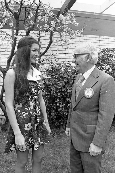 Contestant Mollie Beasley talked with John Allen, a member of the Eureka Kiwanis Club, at the Eureka Inn prior to the 1975 pageant. The Eureka Kiwanis Club had been sponsoring the Miss Humboldt Pageant since 1965 and had awarded more than $14,000 in scholarships during its 10 years of involvement in the competition. (Times-Standard file photo)