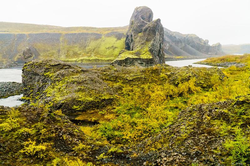 Beautiful basalt and a river canyon in Hljóðaklettar, Iceland.