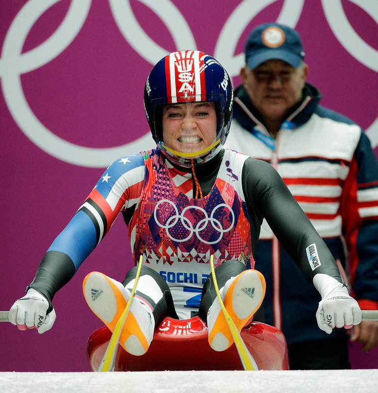. Kate Hansen of the United States starts her first run during the women\'s singles luge competition at the 2014 Winter Olympics, Monday, Feb. 10, 2014, in Krasnaya Polyana, Russia. (AP Photo/Jae C. Hong)