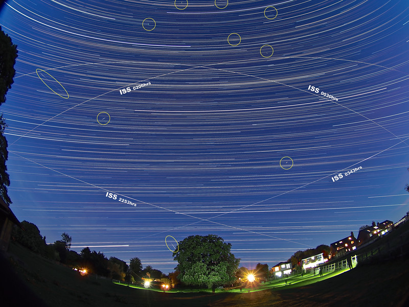 Star Trail with Quad ISS pass & notes