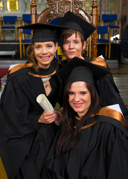 Waterford Institute Of Technology Conferring. Pictured at WIT Waterford Institute Of Technology Conferring are Edyta Soltys, Limerick, Kellie Fitzgerald, Waterford and Emma Butler Kilkenny who graduated Bachelor of Arts Honours in Business Managemant with Law. Picture: Patrick Browne