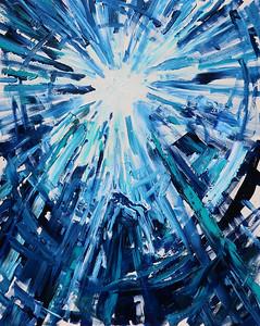 """Palau Scuba Zen"" (oil on panel) by Palau Manta Ray"