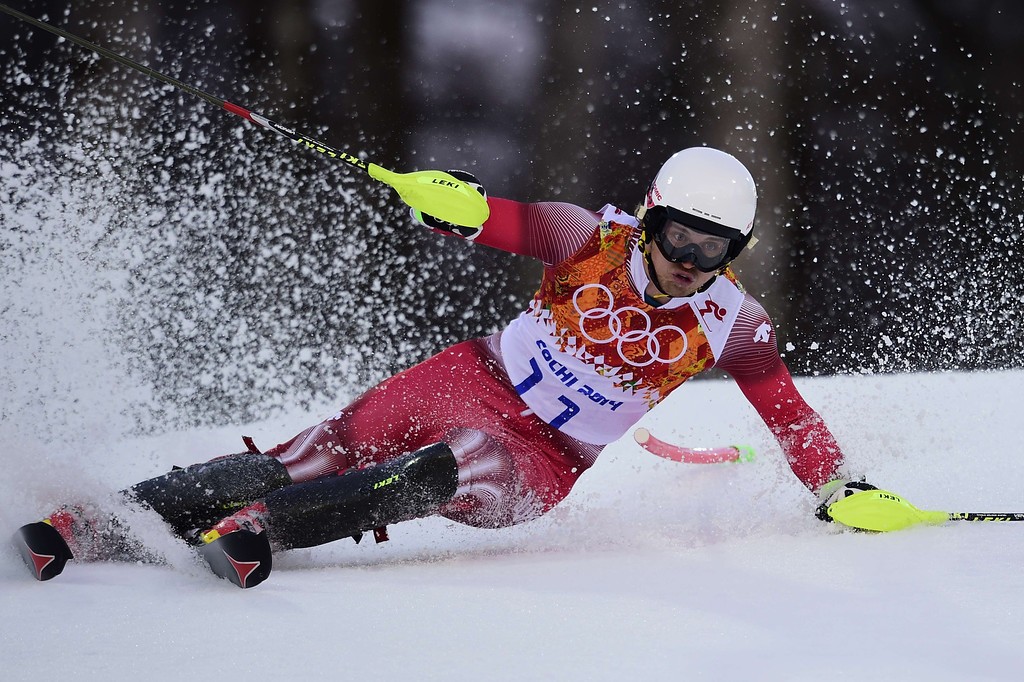 . Switzerland\'s Mauro Caviezel competes during the Men\'s Alpine Skiing Super Combined Slalom at the Rosa Khutor Alpine Center during the Sochi Winter Olympics on February 14, 2014.  OLIVIER MORIN/AFP/Getty Images