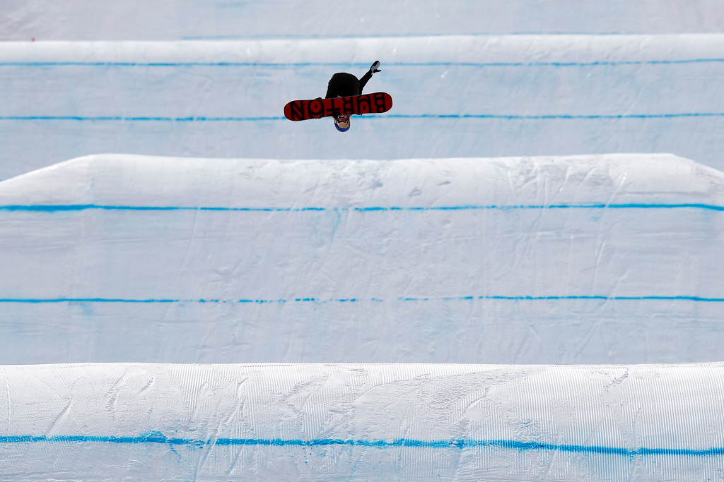 . Anna Gasser, of Austria, catches air during practice for the women\'s slopestyle qualifications at Phoenix Snow Park at the 2018 Winter Olympics in Pyeongchang, South Korea, Sunday, Feb. 11, 2018. The event was postponed due to weather conditions. (AP Photo/Jae C. Hong)