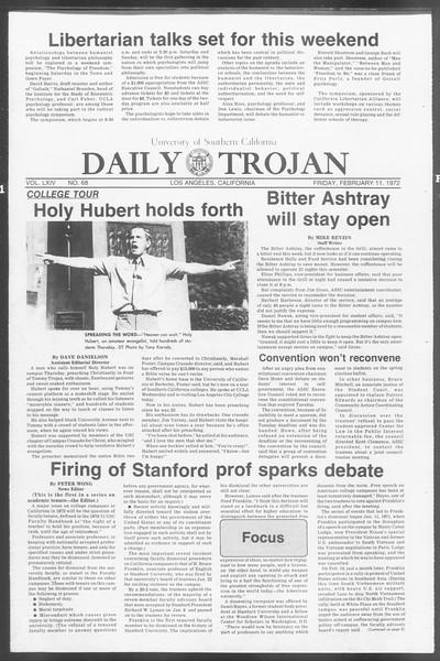 Daily Trojan, Vol. 64, No. 68, February 11, 1972