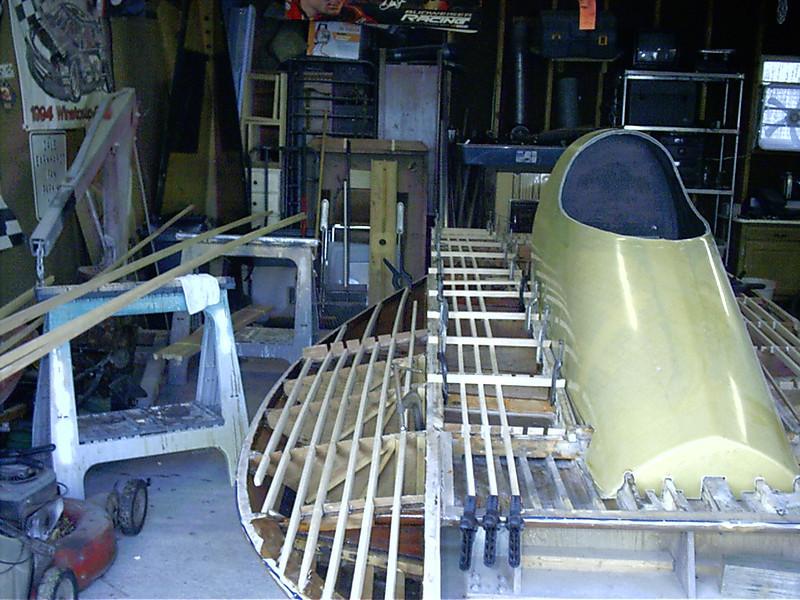 Starboard sponson and deck battens installed.