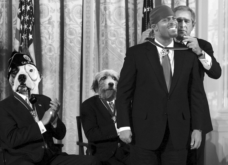 . 2007 Loop MVP Michael Vick gets the Loop Medal of Freedom from then-President Bush during a fictional White House ceremony. (Pioneer Press photo illustration)  <p>OTHERS RECEIVING VOTES <p> Amanda Bynes, Kim Jong-Un, Jim Pohlad, Shabazz Muhammad, Bashar al-Assad, Dwight Howard, �Blurred Lines�, Rihanna, Joe Mauer�s twins, Vodka Samm, Bryant McKinnie, Dez Bryant, Bret Bielema, Michael Waltrip, Jerry Kill, John Boehner, Vance Worley, Mike Rice, Greg Jennings, Martin Bashir & Sarah Palin, Von Miller, New Orleans Superdome electricity, Paul Ryan, Kevin Love, Rick Spielman, Archbishop John Nienstedt. <p>   <p>EDITOR�S NOTE <p>The Loop Ten and Midweek Quiz are going on a holiday hiatus, returning after the new year. But we�ll still be around the next two weeks to bring you our regular NFL picks and our annual Bowl haikus.   <br><p><i> Kevin Cusick talks fantasy football, and whatever else comes up, with Bob Sansevere and �The Superstar� Mike Morris on Thursdays on Sports Radio 105 The Ticket. Follow him at <a href=\'http://twitter.com/theloopnow\'>twitter.com/theloopnow</a>.</i>