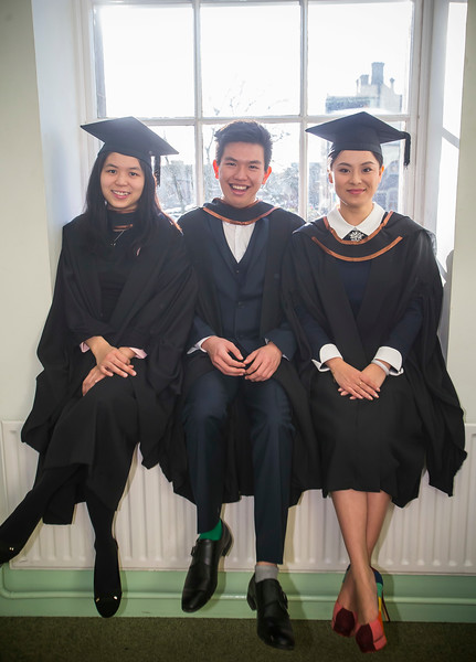 06/01/2015. FREE TO USE IMAGE. WIT (Waterford Institute of Technology) Conferring, Pictured are Ann Low, Weng Jin Chow and Lening Lu graduated BA (Hons) in Finance. Picture: Patrick Browne