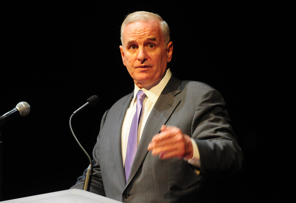 . Minnesota Governor Mark Dayton spoke as the proposed design for the new Vikings stadium by HKS Inc. was unveiled Monday evening. (Pioneer Press: Scott Takushi)