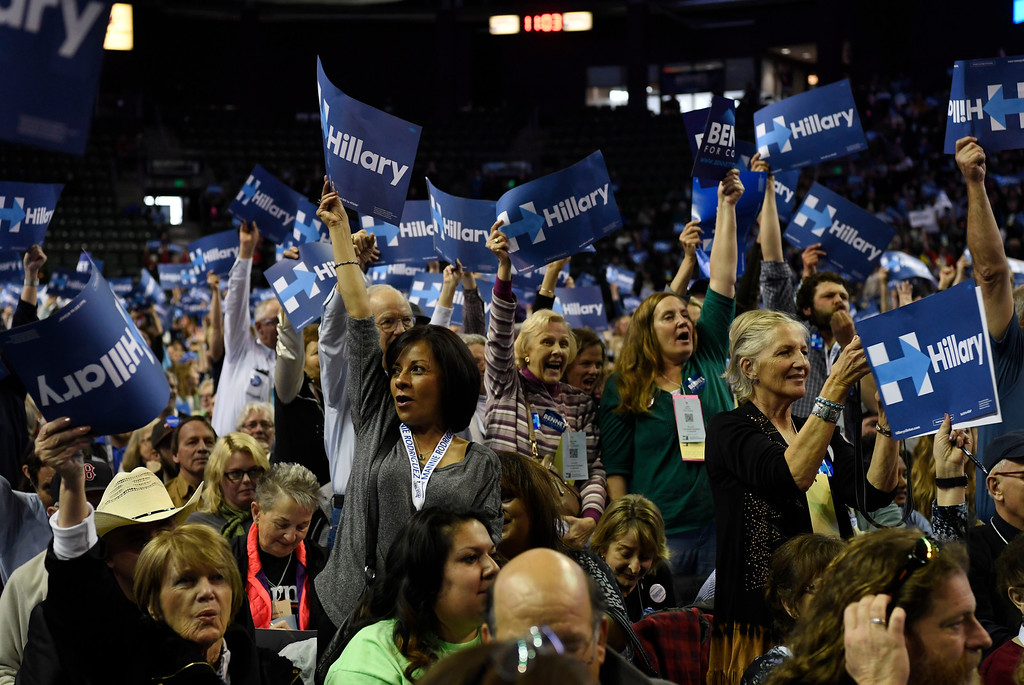. Hillary Clinton supporters at the Colorado Democratic State Convention at the Budweiser Events Center April 17, 2016. (Photo by Andy Cross/The Denver Post)